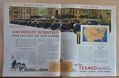 1930 double page magazine ad for Texaco - Univ. of Kansas tests oil, 13 cars