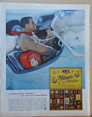 1961 magazine ad for Whitman's Chocolates - Valentine's Day, man in sports car