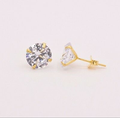 Diamonique CZ Prong Set Round Stud Earrings 14K Yellow Gold Clad Silver All Size