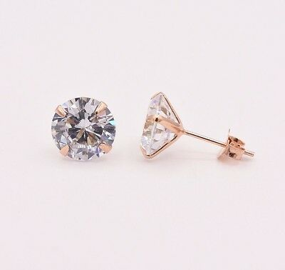 Diamonique CZ Prong Set Round Stud Earrings 14K Rose Gold Clad Silver All Size