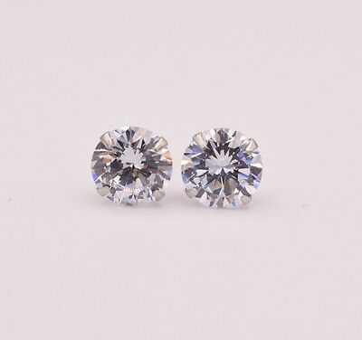 Diamonique CZ Prong Set Round Stud Earrings 14K White Gold Clad Silver All Size