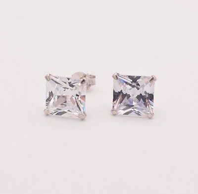 Diamonique CZ Prong Set Princess Square Stud Earrings 14K White Gold Clad Silver