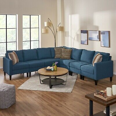 Awesome Carolina 7 Piece Versatile Fabric Sectional Couch 602 00 Andrewgaddart Wooden Chair Designs For Living Room Andrewgaddartcom
