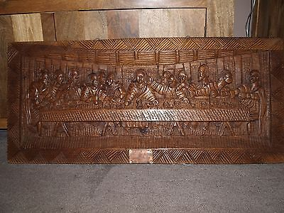 Large Carved Oak Panel ,,the Last Supper... 39In X 18In