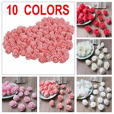 100 x Mini Foam Artificial Rose Flower Heads Wedding Party Decor Bouquet Bulk
