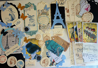 CRAFT pack die cuts French Paris vintage labels tags cards/scrapbook