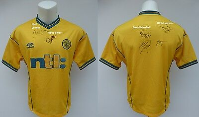 2000-01 Celtic Treble Winners Multi Signed Away Shirt (11071)