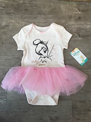 Baby Girl Disney Tinker Bell Tutu Babygrow Romper Bodysuit Fancy Dress Costume