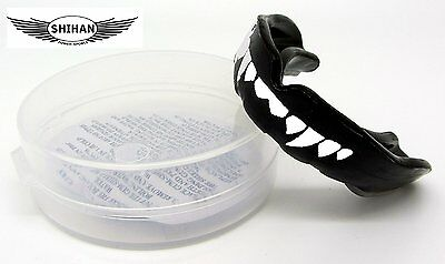 BLACK 'FANGS' Gum Shield Mouth Guard Protection Boxing MMA Football Hockey