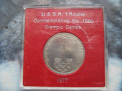 USSR Russian Moscow 1980 XXII Olympiad 1 Ruble Rouble 1977 UNC coin in case