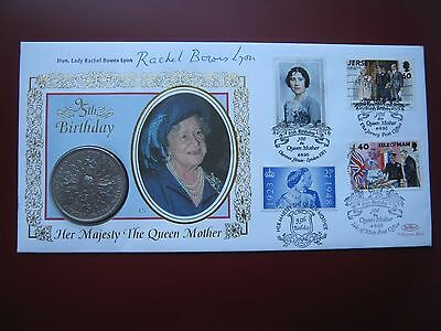 UK British 1980 Crown Queen Mother 95th Birthday Signed Benham coin stamp cover