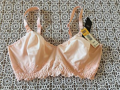 Nwt Vintage Olga Simply Perfect Satin Embroidered Underwire Bra Peach 38Dd 33042