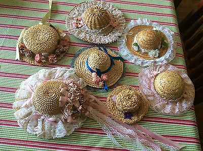 Doll Hats x 6. Trimmed. Assorted sizes.