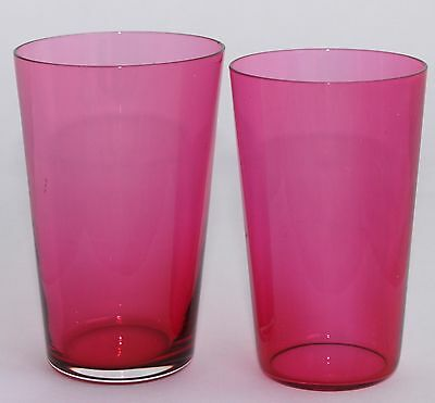Two Ruby Glass Crystal Whisky/Water Tumblers