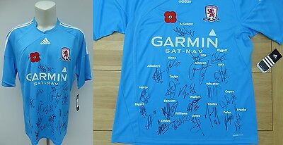 2009-10 Middlesbrough Away Poppy Shirt Signed by Squad - Signature Map (11080)