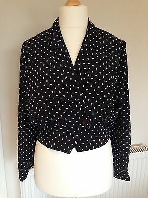 Genuine Vintage 1980'S Debenhams Ladies Polka Dot Jacket, Size 14, Smart