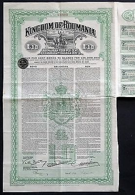 1923 Kingdom of Roumania: Roumanian 4% Consolidation Loan 1922 for £10