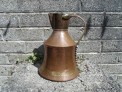 Antique Persian arts and crafts hand beaten copper jug - old Eastern metalware