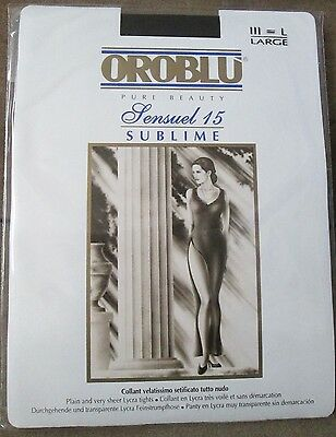 Vintage Oroblu Sensuel15 Sublime Tights Black Plain,very Sheer - Size L - New
