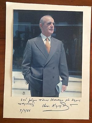 1986 Very Large Signed Autograph Photo Prime Minister Greece Kons. Karamanlis