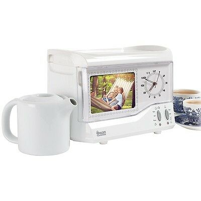 1950's Style Bedside Swan Teasmade with Photoframe and Detachable Serving Tray