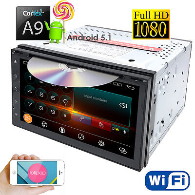 """4Core Android 5.1 3G WIFI 7"""" Double 2DIN Car DVD Player Radio Stereo GPS Nav+Map"""