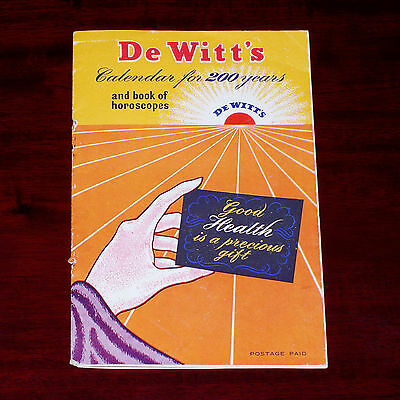"c.1940s advertising pamphlet "" De Witts Calendar for 200 years """
