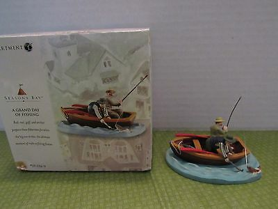 Dept 56 Seasons Bay 1999 A Grand Day Of Fishing 2 Men In Boat W/Fish On The Line