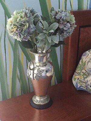"Antique silver plated 18"" vase urn very large 2 handles - grape foliage adorned"