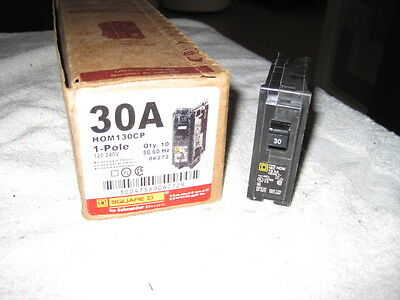 New Square D HOM130 Homeline 30-Amp ONE-Pole Circuit Breaker