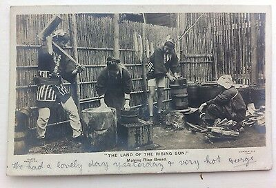 Rare 1904 Japan Postcard Land Of The Rising Sun Making Rice Bread