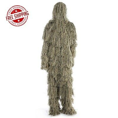 Camouflage Jungle Hunting Ghillie Suit Set Woodland Sniper Birdwatching Poncho D