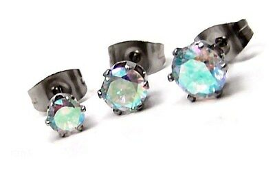 Aurora Borealis Stud Earrings Hypoallergenic Surgical Steel 3 Sizes Offered