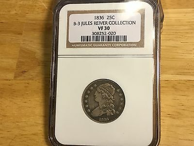 1836 Capped Bust Quarter NGC VF30 JULES REIVER COLLECTION FREE SHIPPING ORIGINAL