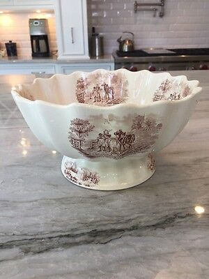 Large late 1800s FOOTED BOWL: COPELAND England: Brown Transferware Horses, Cows