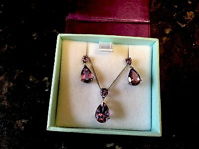 925 Silver Amethyst Necklace And Earring Set