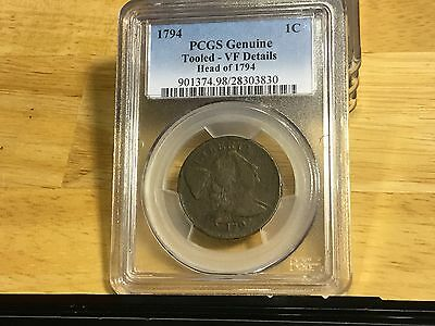 1794 LARGE CENT PENNY PCGS VF Details HEAD OF 1794 FREE SHIPPING BELOW WHOLESALE