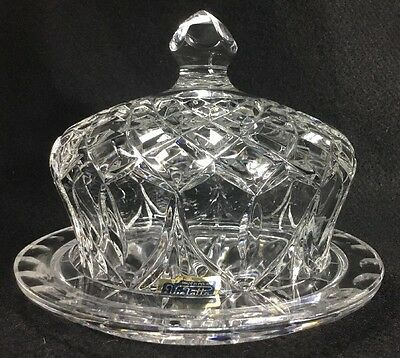 24% Lead Crystal Covered Cheese Butter Keeper Made In  Poland  By Violetta  Vtg