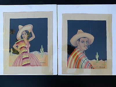 Two 1920s Paintings Mexican Man & Woman by Hyson Kaiser