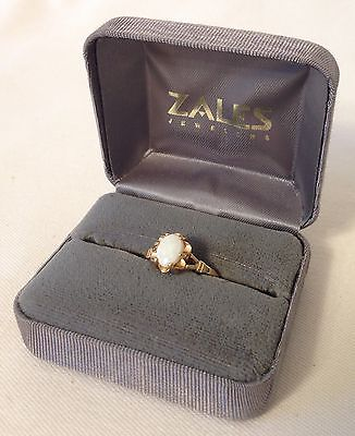 18K HGE (A in a circle) marked opal looking stone ring sz 7 with gift box