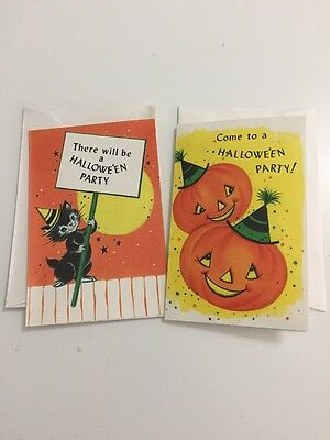 Lot of 2 Vintage 1950s Halloween Party Invitations NOS JOL Witch Cat Cute Cards