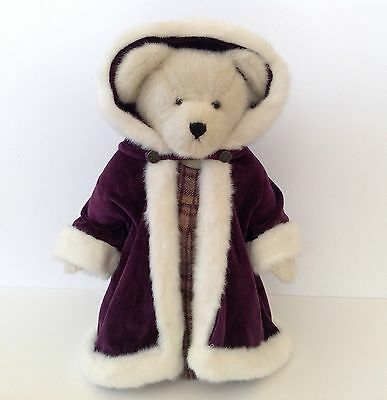 "Boyd's Bears Plush Victoria L. Plumbeary 16"" With Purple Velvet Cape & Stand"