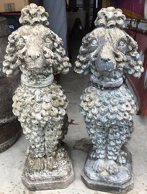 Original Pair Of Cast Stone French Poodle Statues 1940's Rare