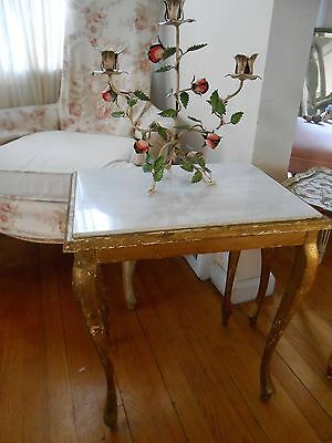 Rare Marble top Italian Florentine Mid Century Occasional Table Gilt Wood