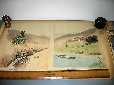 Vintage Japanese Silk Painting Scroll