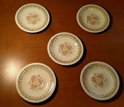 Set Of 5 Edwin Knowles Vitreous Floral China Saucers