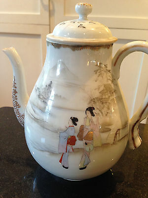 Antique Japanese Hand Painted Eggshell Porcelain teapot with gold edging