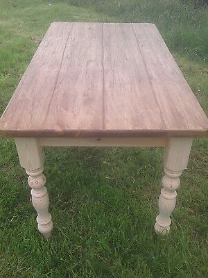 rustic shabby chic pine dining table 4 by 3 foot
