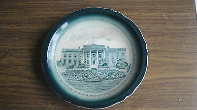 old Presidential White House Commemorative Plate blue green Buffalo Pottery