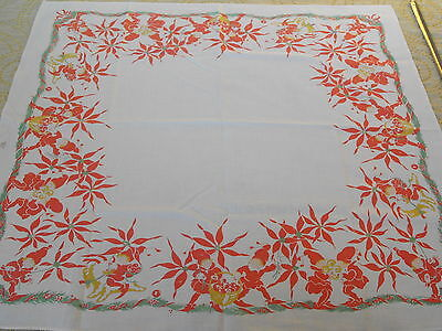 old vtg.Swedish hand printed tablecloth Elves model of Aina Stenberg MasOlle 40s